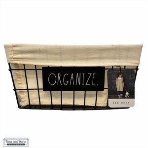 Rae Dunn ORGANIZE Metal Storage Basket NWT